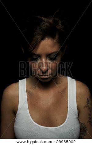 Woman In Tanktop Eyes Closed