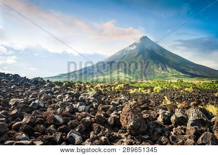 Mayon Volcano Is An Active Stratovolcano In The Philippines.