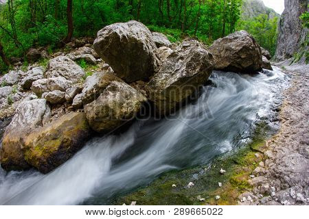 A Small ,fast River In The Mountians. Cheile Turzii.