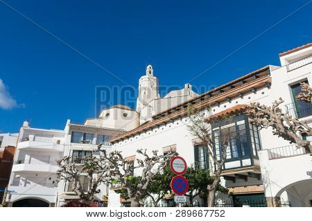 Spain Mediterranean Village Of Cadaques, With The Church Santa Maria, Costa Brava, Alt Emporda, Cata