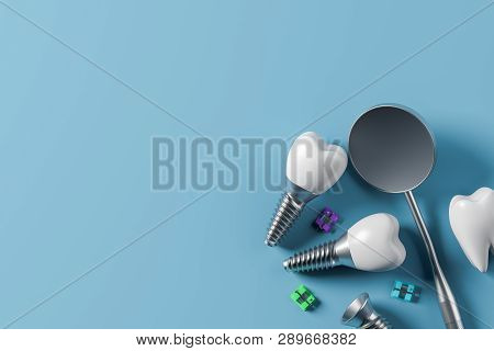 Implant Screw Teeth And Mirror, Blue Background
