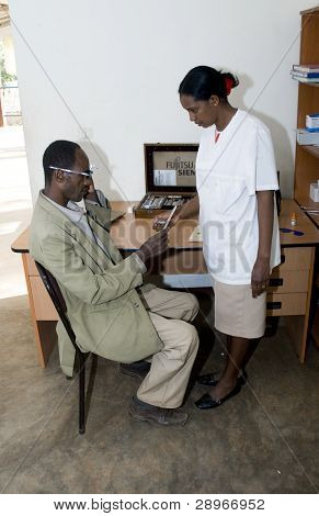 Opthalmic Nurse Treating A Patient In The Receptiom Room At The Nekemte Eye Clinic.