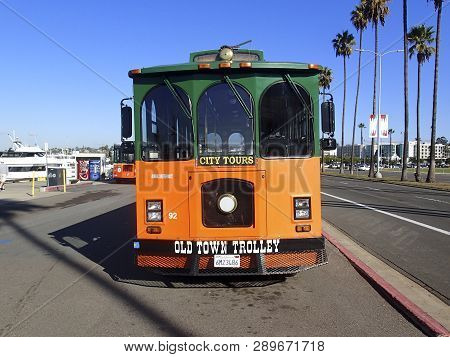 San Diego, California, January, 22, 2016  San Diego California Trolly Car Against A Blue Sky Backgro