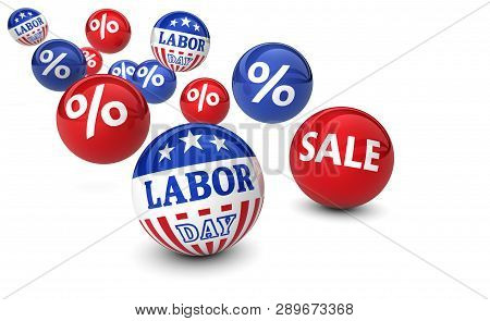 Usa Labor Day National Holiday Sale Concept With Percent Sign And American Flag Colors And Stars On