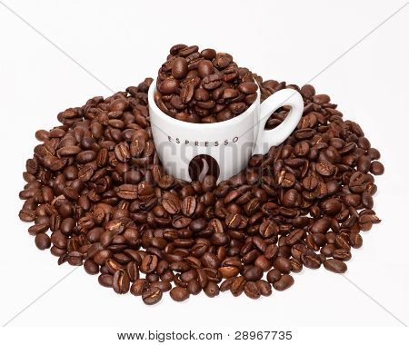 Coffe Cup And Grouped Beans