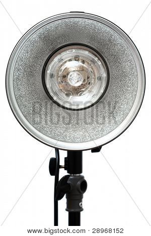 Modern powerful photographic flash on a white background