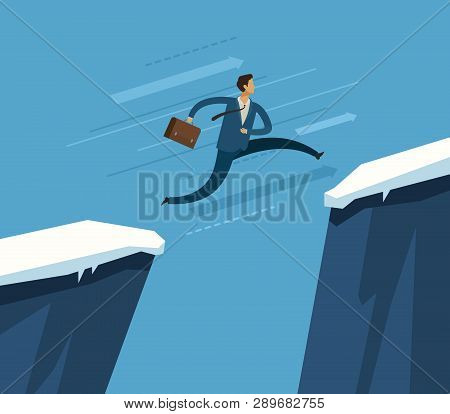 Businessman Jumping Over Chasm. Business Concept. Vector Illustration