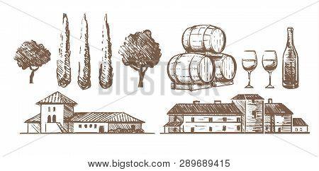 Sketch Set Of Elements Of The Winery, Wine Barrels, A Bottle Of Glasses, Building Villas.