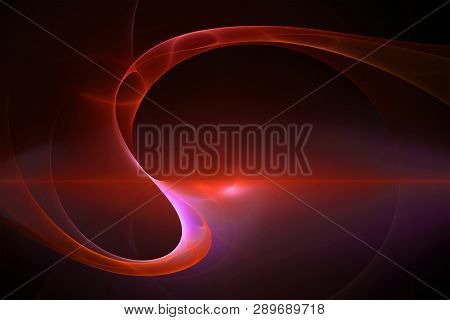 Abstract Red Background, Sinuous Psychedelic 3d Virtual Image, Weird Light Glow In The Dark
