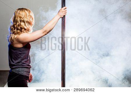 Pole Dance Girl In A Studio With Smoke