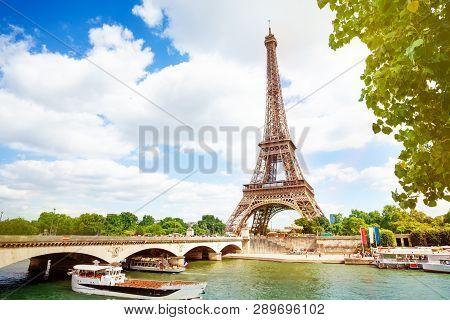 Boats, bridge Pont dIena and Eifel tower, Paris poster