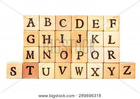 The Alphabet On Wooden Cubes
