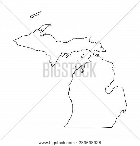 Michigan, State Of Usa - Solid Black Outline Map Of Country Area. Simple Flat Vector Illustration