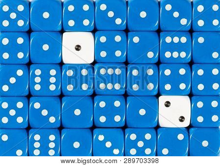 Pattern Background Of Random Ordered Blue Dices With Two White Cubes