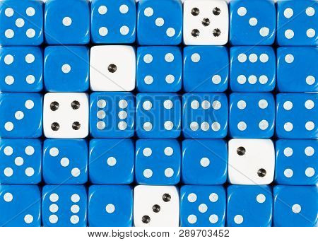 Pattern Background Of Random Ordered Blue Dices With Five White Cubes