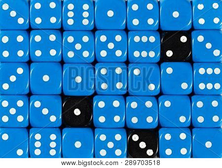 Pattern Background Of Random Ordered Blue Dices With Three Black Cubes
