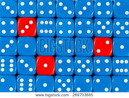 Pattern Background Of Random Ordered Blue Dices With Three Red Cubes