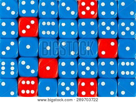 Pattern Background Of Random Ordered Blue Dices With Six Red Cubes