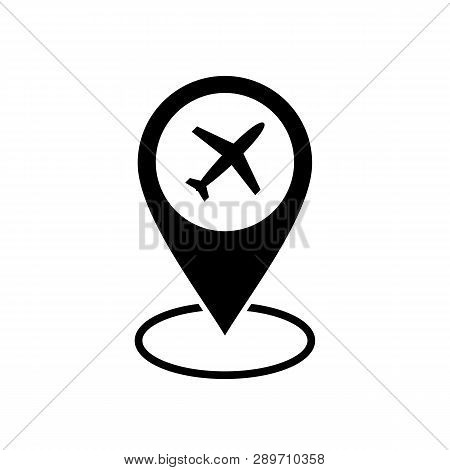Airport Location Pin Vector Icon. Filled Flat Sign For Mobile Concept And Web Design. Airport Map Ma