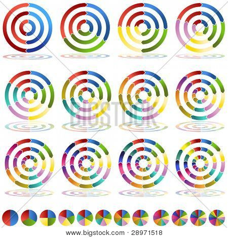 An image of two through thirteen segmented arrow wheel target icons.