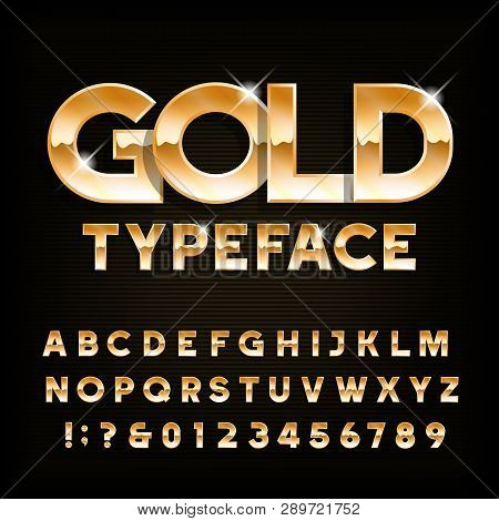 Gold Alphabet Typeface. Beveled Shiny Letters And Numbers. Stock Vector Font For Your Typography Des