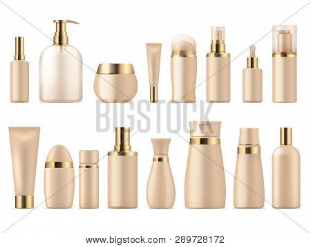 Realistic Cosmetic Package. Gold Beauty Product 3d Mockup Shampoo Bottle Lotion Pump. Luxury Package