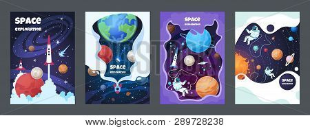 Cartoon Space Flyer. Universe Galaxy Banner Planet Science Poster Astronaut Poster Frame Brochure Co