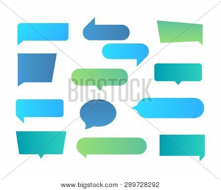 Thought Shapes. Text Chat Speech Rectangular Bubbles, Conversation Talk Shape, Dialog Flat Shape. Ve