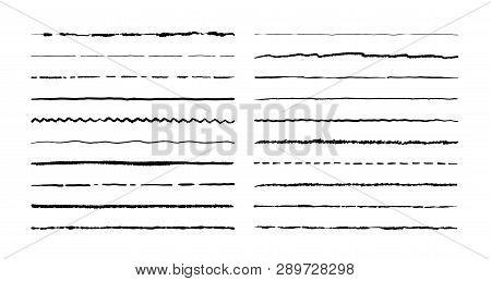Hand Drawn Doodle Lines. Pencil Stroke Underline Sketch, Pen Grunge Border Set, Cartoon Frame Elemen