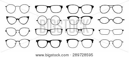 Glasses Silhouette. Sun Glasses Hipster Frame Set, Fashion Black Plastic Rims, Round Geek Style Retr