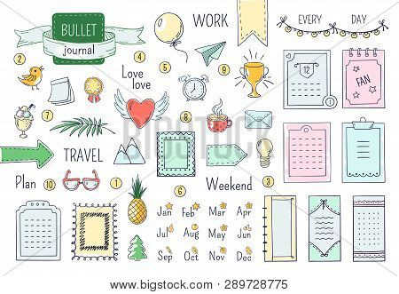 Journal Hand Drawn Elements. Doodle Bullets, Color Notebook Schedule Calendar Diary Line Scribble El