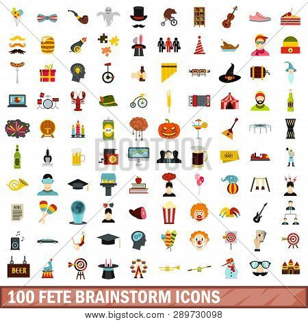 100 Fete Brainstorm Icons Set In Flat Style For Any Design Illustration