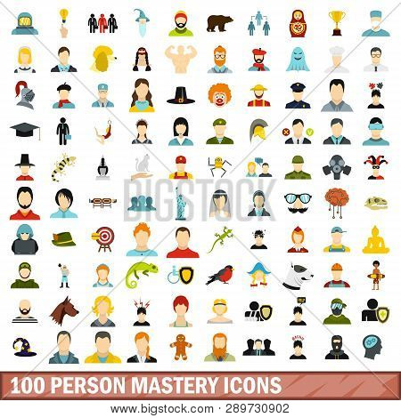 100 Person Mastery Icons Set In Flat Style For Any Design Illustration