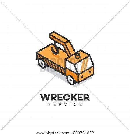 Wrecker Service Logo Design Template. Vector Illustration.