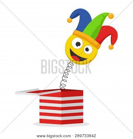 Jack In The Box Toy Isolated On White Background. Jester Hat And Laughing Emoticon. Surprise Joke Fo