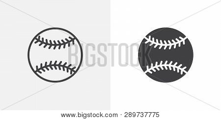 Baseball Ball Icon. Line And Glyph Version, Outline And Filled Vector Sign. Baseball Sport Game Line