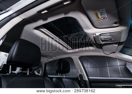 Novosibirsk, Russia - March 15, 2019:  Nissan Teana,close-up Of The Hatch. Photography Of A Modern C