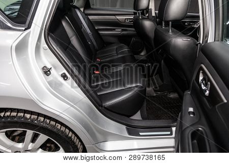 Novosibirsk, Russia - March 15, 2019:  Nissan Teana,close-up Of The Rear Seats. Photography Of A Mod