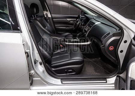 Novosibirsk, Russia - March 15, 2019:  Nissan Teana,close-up Of The Dashboard, Speedometer, Tachomet