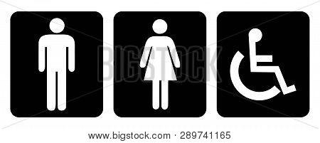 Washroom And Rest Room Symbol.men Washroom Symbol And Women Washroom Symbol.restroom Symbol In Black