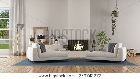 White Modern Living Room With Fireplace And Two Chaise Lounge - 3d Rendering