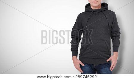 Man In Black Sweatshirt, Black Hoodies. White Background
