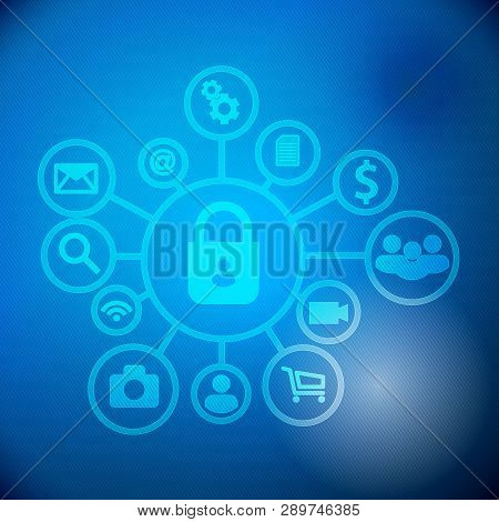 Security For Internet. Vector Of Internet Security Systems. Cyber Security Icon Concept. Data Protec