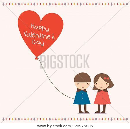 Lovely Couple Holding a Love balloon with