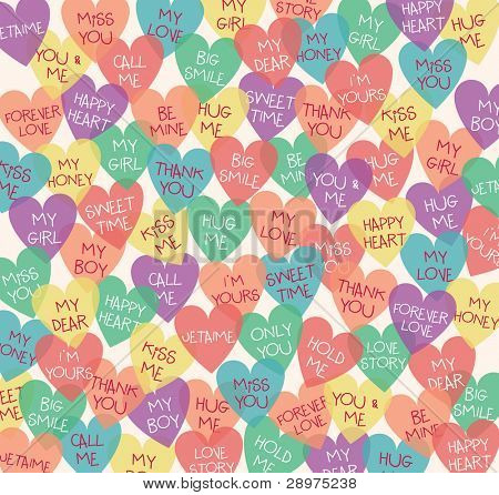 Seamless Love Shape Background. Speak Out Your Love Languages. Valentine's Day Design.