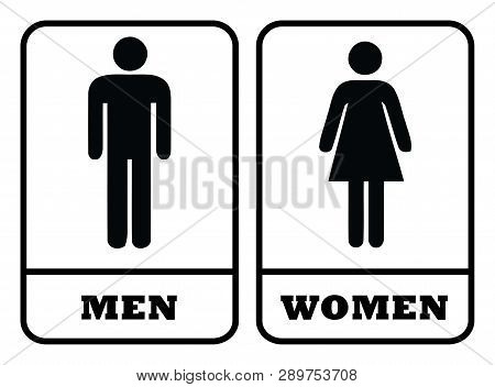Washroom Symbol And Rest Room Symbol.men Washroom Icon And Women Washroom Sign In White Background D