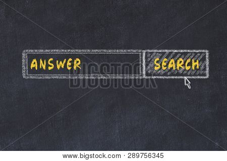 Chalk Board Sketch Of Search Engine. Concept Of Looking For Answer