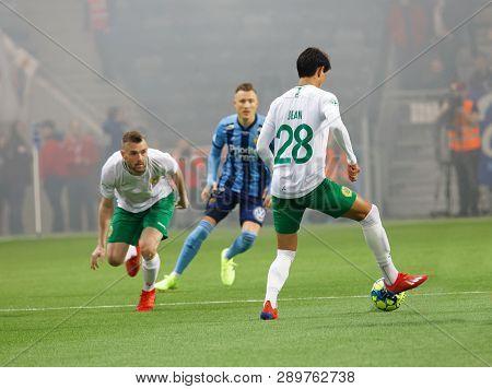 Stockholm, Sweden - Mar 10, 2019: Derby At The Swedish Soccer Cup Quarter Finals Between Djurgarden