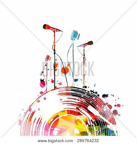 poster of Music background with colorful vinyl record and microphones vector illustration design. Artistic karaoke poster, music festival poster, live concert events, party flyer