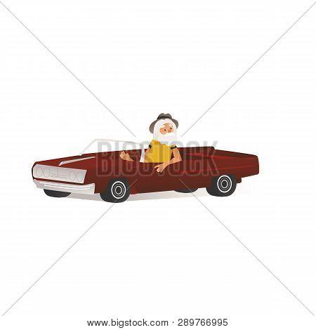 Vector Cheerful Elderly Man Drive Retro Cabrio Car